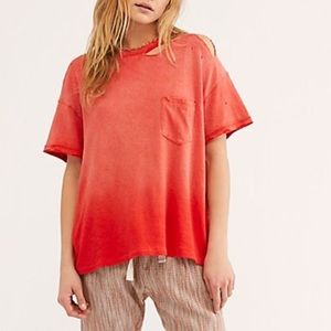 NWT Free People Ombre Red Distressed Tee Small